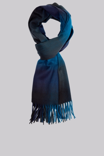 Moss 1851 Teal Ombre Check Scarf