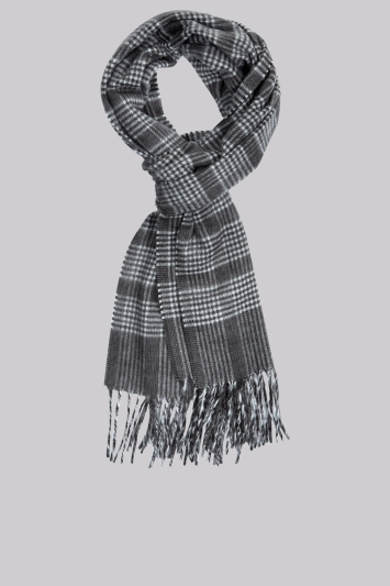 Moss 1851 Charcoal Check Scarf