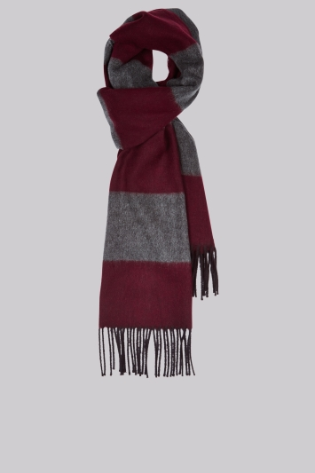 Moss 1851 Wine Horizontal Stripe Scarf
