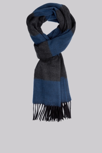 Moss 1851 Blue Horizontal Stripe Scarf