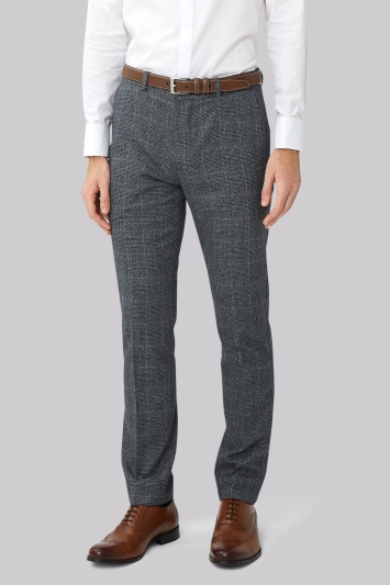 Moss London Slim Fit Charcoal Check Trousers