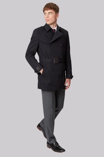 French Connection Slim Fit Navy Raincoat