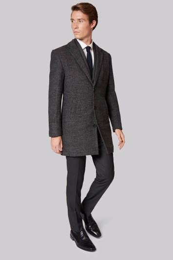 Moss London Slim Fit Grey Textured Overcoat