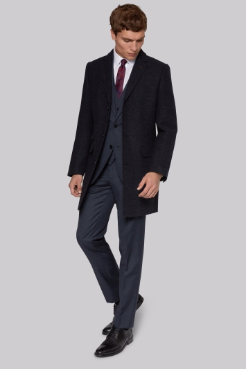 French Connection Silm Fit Navy Textured Coat