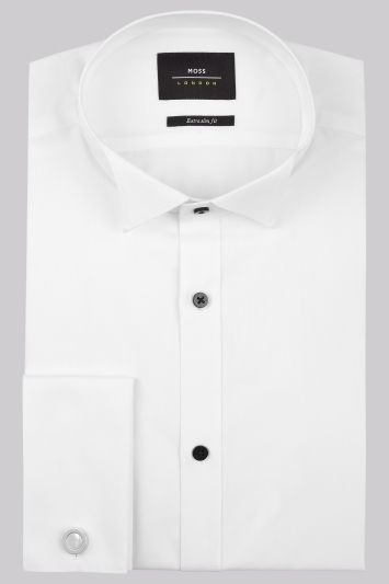 Moss London Extra Slim Fit Double Cuff Plain Wing Collar Dress Shirt with Black Buttons