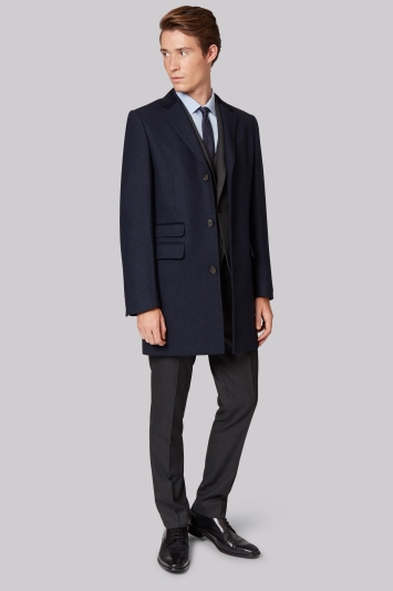 Moss London Slim Fit Navy Twill Overcoat