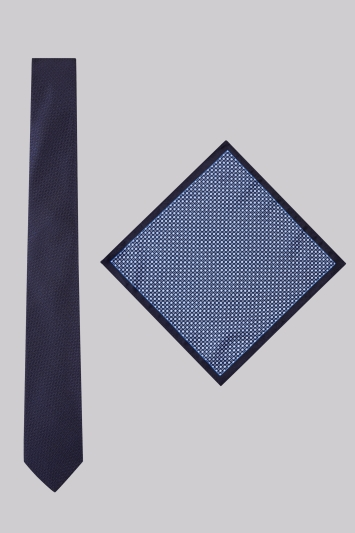 Moss London Navy Textured Tie and Pocket Square Set