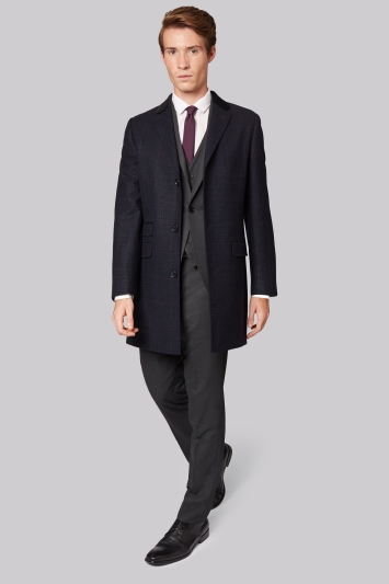 Moss London Slim Fit Blue Check Overcoat