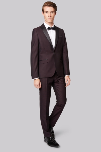 Moss London Skinny Fit Plum Jacquard Tuxedo Jacket