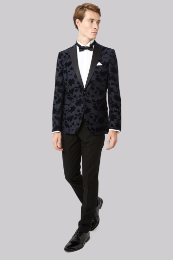Moss London Skinny Fit Navy Flocked Tuxedo Jacket
