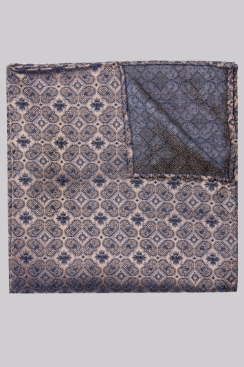 Moss 1851 Taupe & Navy Medallion Silk Pocket Square