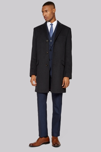 DKNY Tailored Fit Charcoal Epsom Overcoat
