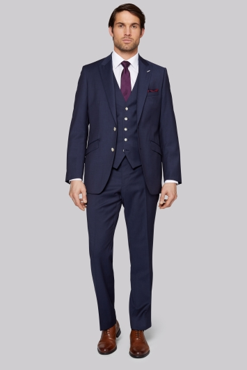Moss Bros Tailored Fit Blue Twill Suit