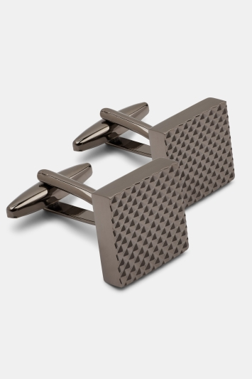 Moss London Gunmetal Textured Cufflinks