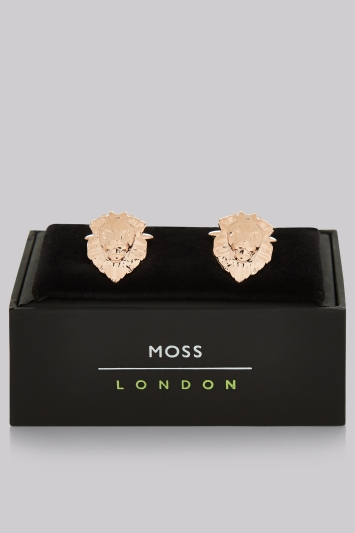 Moss London Rose Gold Lion Cufflinks