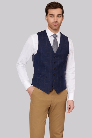 Hardy Amies Tailored Fit Navy Brown Hopsack Waistcoat