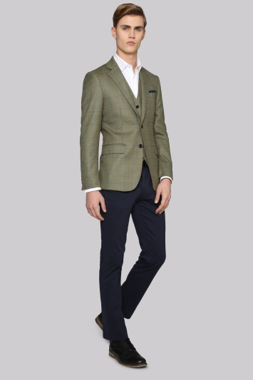 Hardy Amies Tailored Fit Green Multi Check Jacket