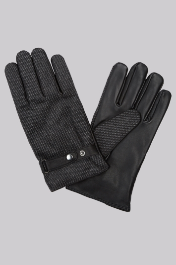 Moss 1851 Black Fabric Backed Leather Strap Gloves