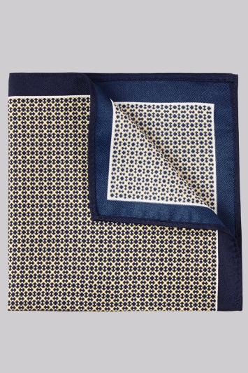 Moss London Gold and Navy Geometric Pocket Square