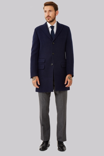 Moss 1851 Tailored Fit Navy Double Faced Overcoat