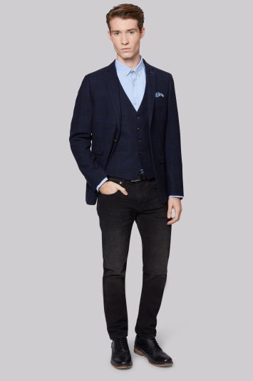 Moss London Slim Fit Navy Shadow Check Jacket