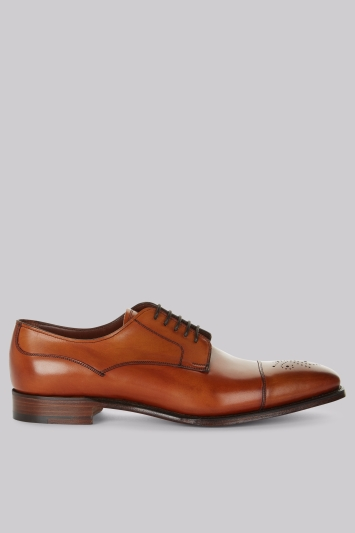 Cheaney Shoes Tan Punch Toe Derby Shoes