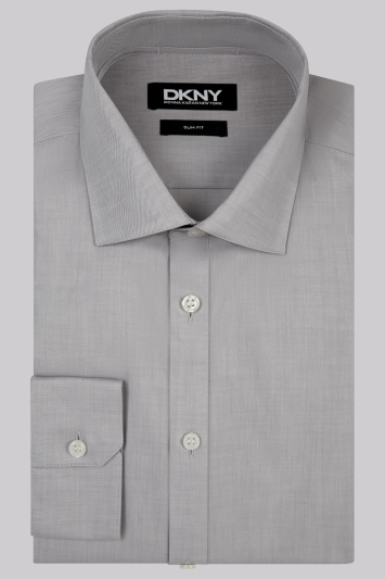 DKNY Slim Fit Grey Single Cuff Twill Semi Spread Collar Shirt