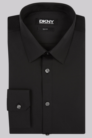 DKNY Slim Fit Black Single Cuff Pointed Collar Shirt