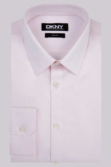 DKNY Slim Fit Pink Single Cuff Pointed Collar Shirt