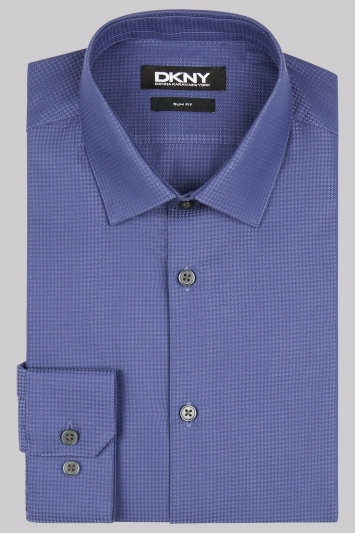DKNY Slim Fit Purple Single Cuff Textured Houndstooth Shirt