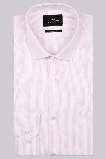 Moss London Premium Extra Slim Fit Pink Single Cuff Narrow Stripe Shirt