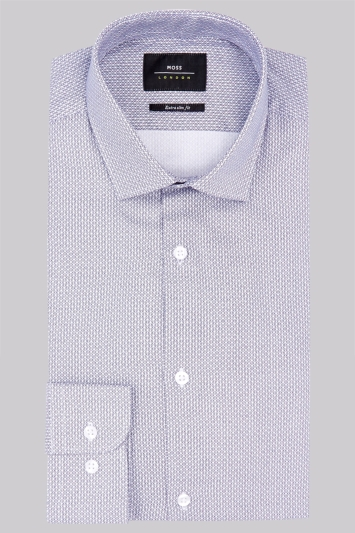 Moss London Premium Extra Slim Fit Navy Single Cuff Oxford Cotton Printed Shirt