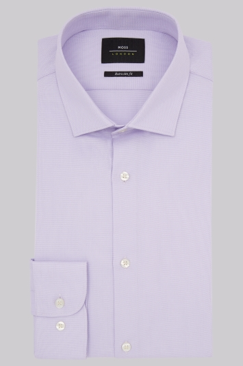 Moss London Premium Extra Slim Fit Lilac Single Cuff Textured Shirt