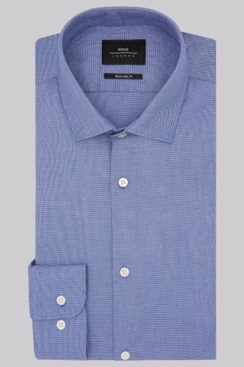 Moss London Premium Extra Slim Fit Navy Single Cuff Textured Shirt