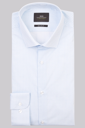 Moss London Premium Extra Slim Fit Sky Single Cuff Printed Shirt