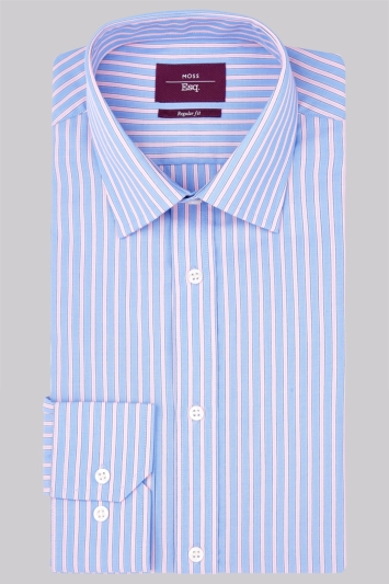 Moss Esq. Regular Fit Pink and Blue Single Cuff Stripe Non-Iron Shirt