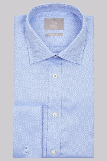 Savoy Taylors Guild Regular Fit Sky Blue Double Cuff Textured Shirt