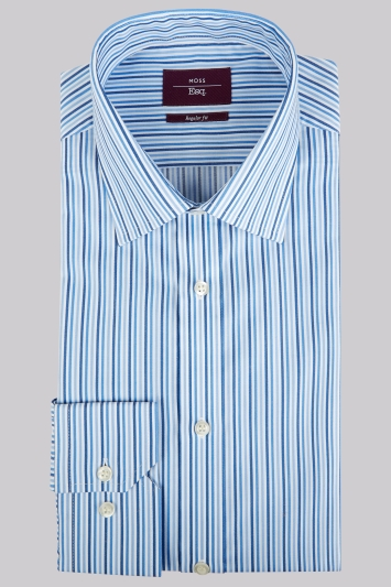Moss Esq. Regular Fit Blue Single Cuff Triple Stripe Non-Iron Shirt