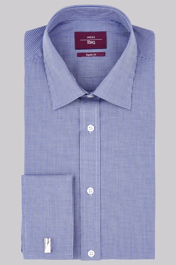 Moss Esq. Regular Fit Navy Double Cuff Mini Gingham Shirt