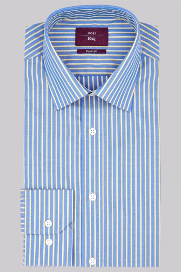 Moss Esq. Regular Fit Yellow Single Cuff Stripe Non-Iron Shirt