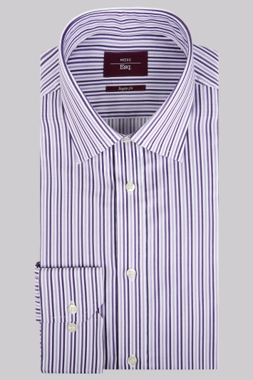 Moss Esq. Regular Fit Purple Single Cuff Triple Stripe Non-Iron Shirt