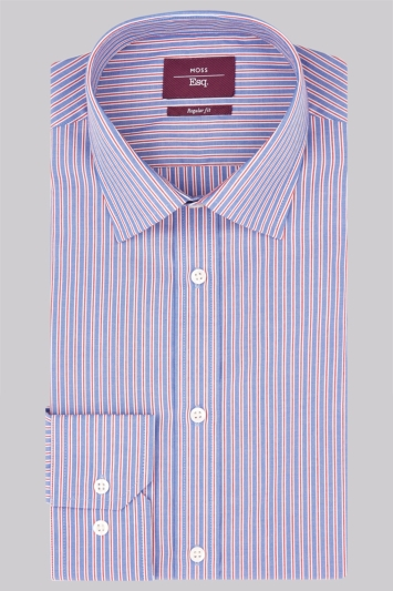 Moss Esq. Regular Fit Red Single Cuff Stripe Non Iron Shirt