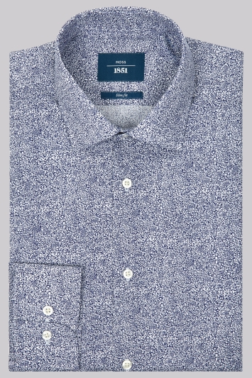 Moss 1851 Slim Fit Blue Single Cuff Floral Print Shirt