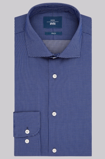 Moss 1851 Slim Fit Navy Single Cuff Textured Shirt