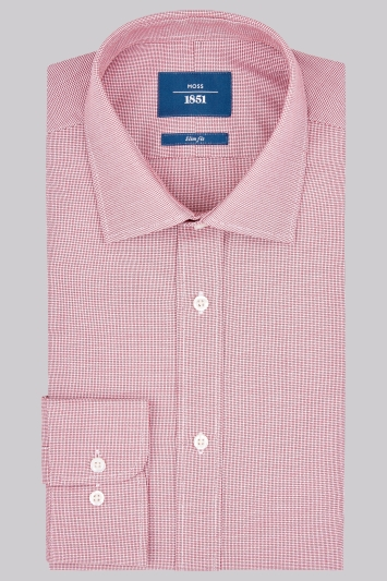 Moss 1851 Slim Fit Red Single Cuff Textured Shirt