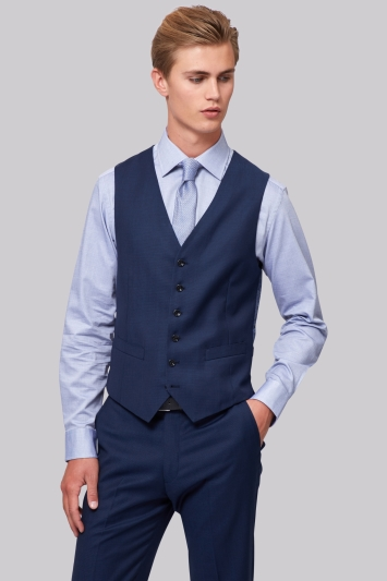 Hardy Amies Tailored Fit Navy Birdseye Waistcoat