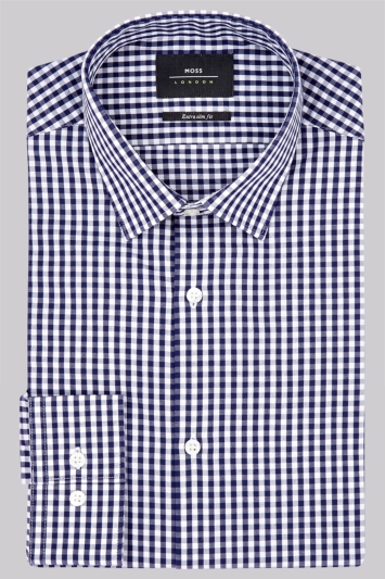 Moss London Extra Slim Fit Navy Single Cuff Gingham Shirt