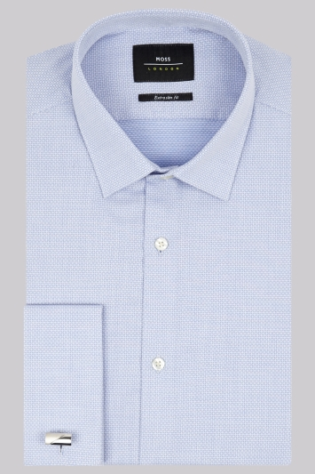 Moss London Extra Slim Fit Sky Blue Double Cuff Textured Shirt