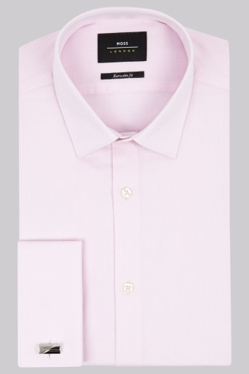 Moss London Extra Slim Fit Pink Double Cuff Textured Shirt