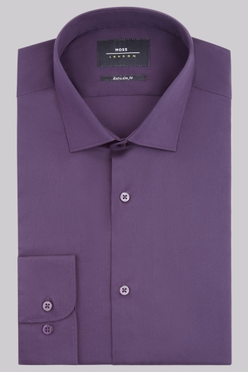 Moss London Extra Slim Fit Purple Single Cuff Stretch Shirt